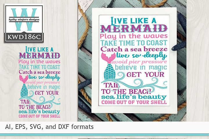Mermaid SVG - Live Like A Mermaid