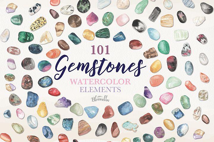 101 Gemstones Collection Watercolor Clipart ElementsCrystals