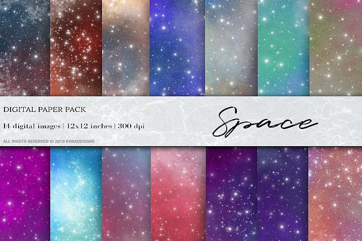 Space Starry Digital Papers, Galaxy cosmos background