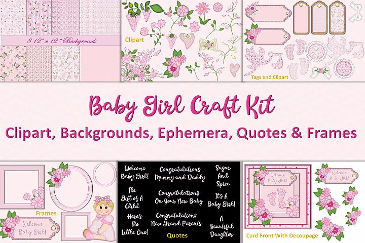 Baby Girl Clipart and Backgrounds Bundle Commercial Use