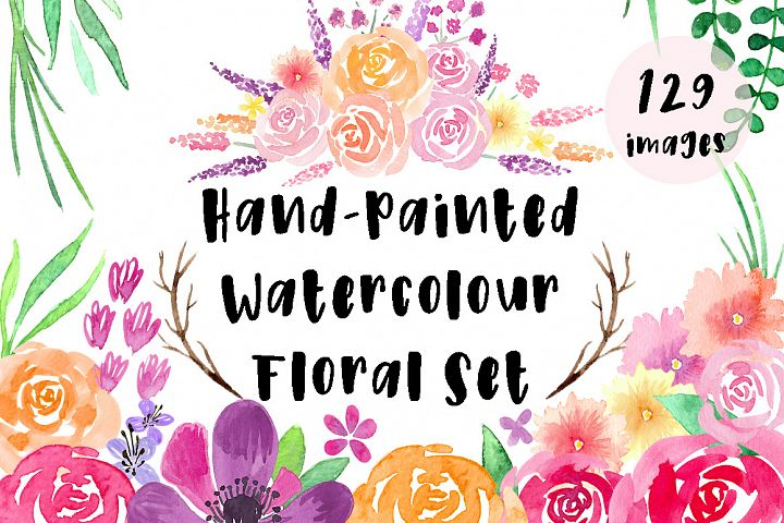 Hand-Painted Watercolour Floral Set
