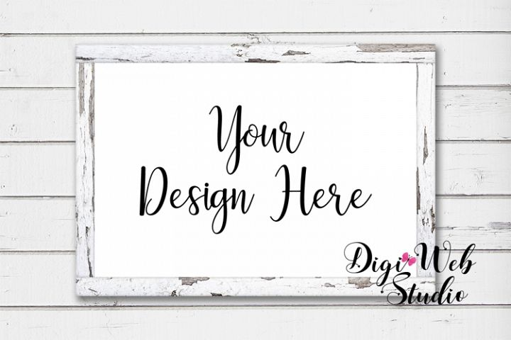 Wood Sign Mockup - White Distressed Wood Frame on Shiplap