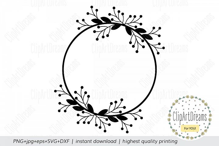 Floral Monogram Frame SVG, Floral Wreath svg cutting file
