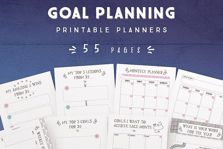 Goal Planning Printables -55 Pages
