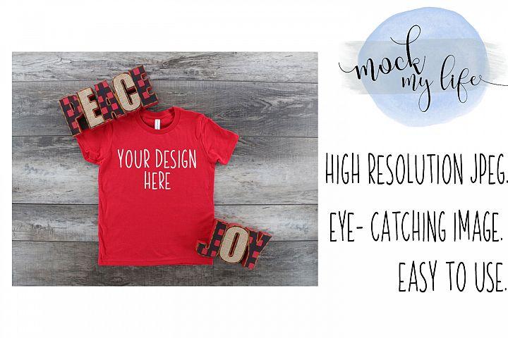 Mockup Bella Canvas Shirt / Christmas Flat Lay / Red Shirt
