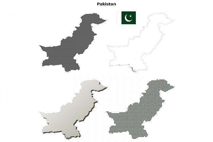 Pakistan outline map set