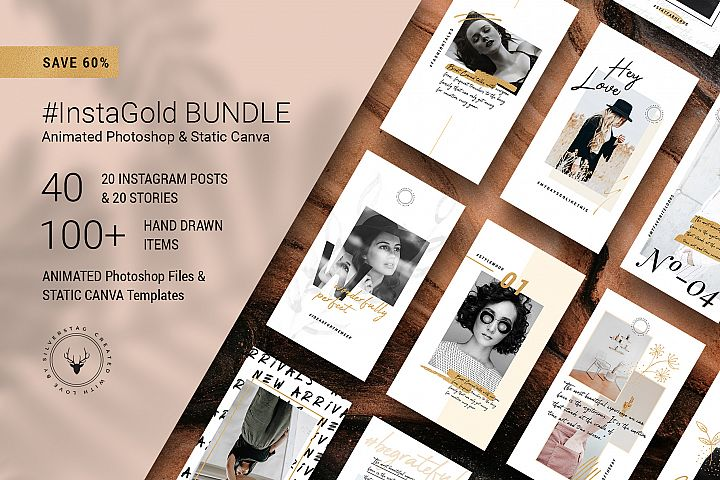 #InstaGold Bundle Posts & Stories Animated Templates & CANVA