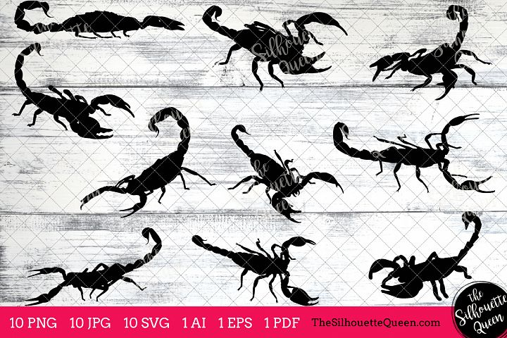 Scorpion Silhouette Clipart Clip Art (AI, EPS, SVGs, JPGs, PNGs, PDF) , Scorpion Clip Art Clipart Vectors - Commercial and Personal Use