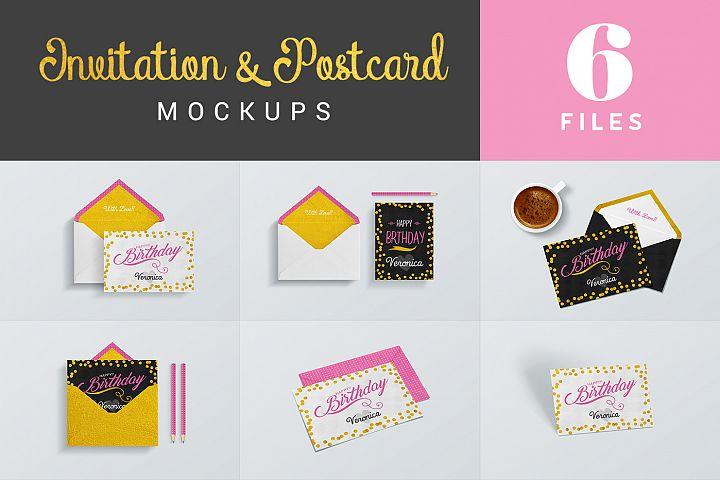 Invitation & Postcard Mockups