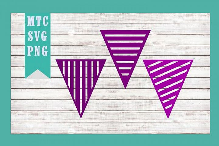 Banner Triangle Stripe Party Bunting Design #01 SVG Cut File