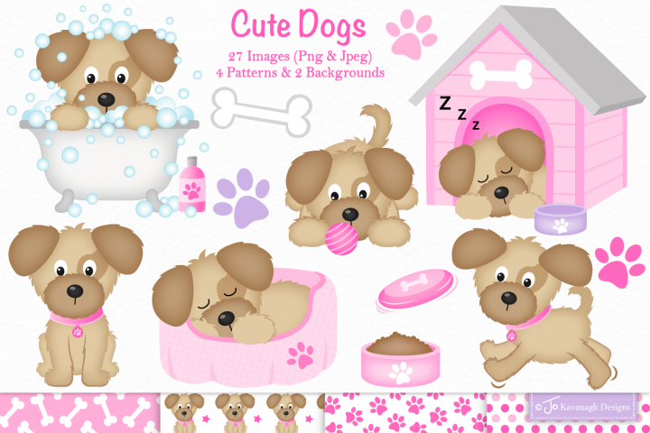 Dog clipart, Dog graphics & illustrations -C36