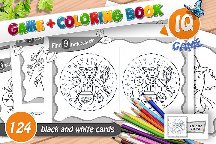 find 9 differences - game and coloring book
