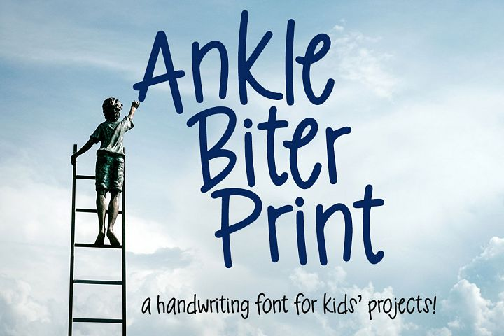 Ankle Biter Print - a childlike handwriting font!