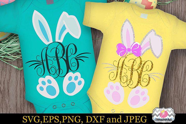 SVG, Dxf, Eps & Png Easter Bunny Monogram