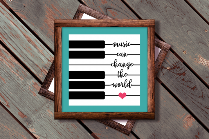 Music Can Change the World Piano Key SVG File