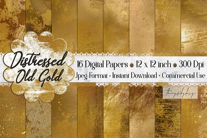 16 Distressed Grunge Old Gold Artistic Painted Digital Paper