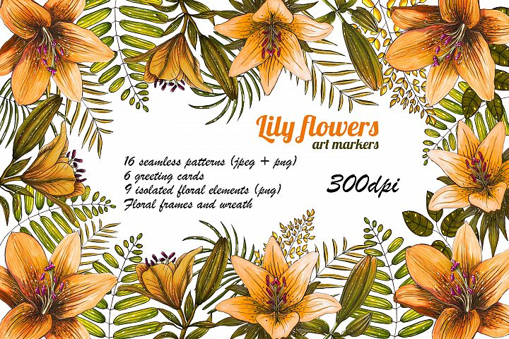 Orange Lily flowers. Art markers. Floral seamless patterns.