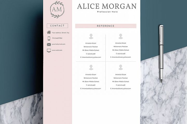 Professional Creative Resume Template - Alice Morgan - Free Design of The Week Design4