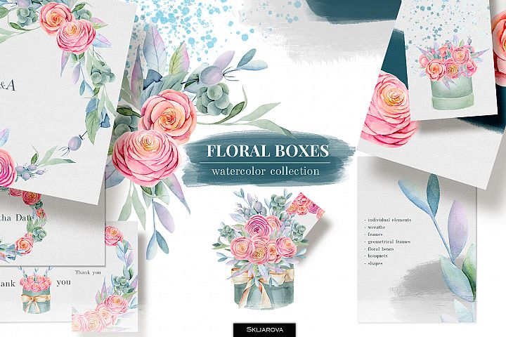 Floral boxes. Watercolor collection.