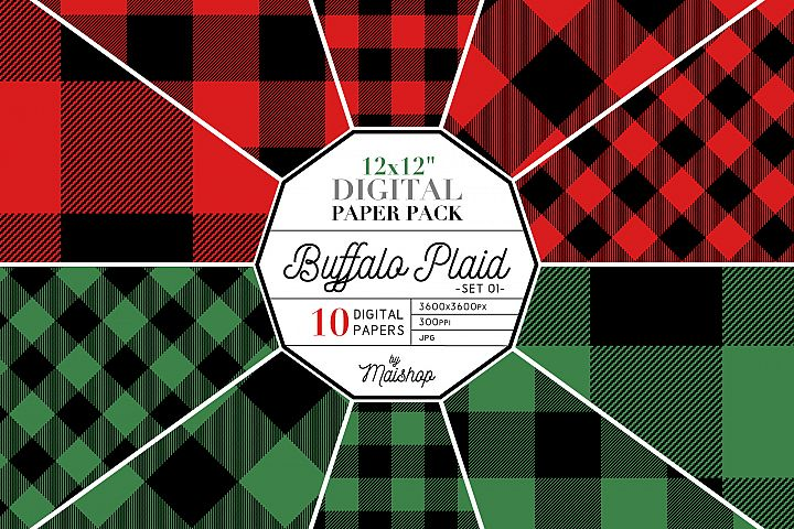 Digital Paper Pack - Buffalo Plaid Set 01