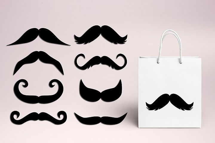 Mustache graphic illustration, vintage design, silhouet