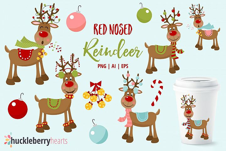 Red Nosed Reindeer Clipart