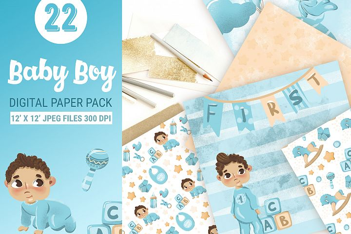 Baby boy paper design for scrapbooking