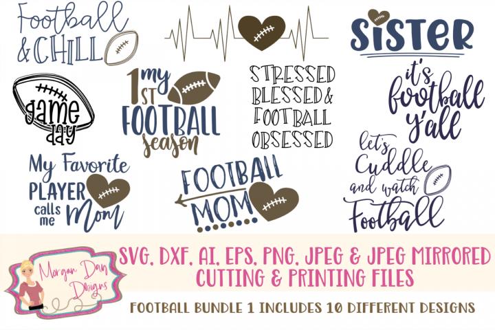 Football Bundle 1 SVG, DXF, AI, EPS, PNG, JPEG