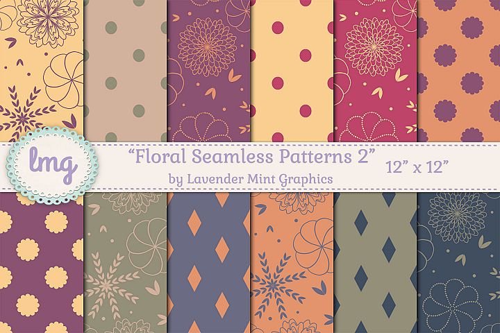 Floral Seamless Digital Paper in Red, Purple, Blue, Green