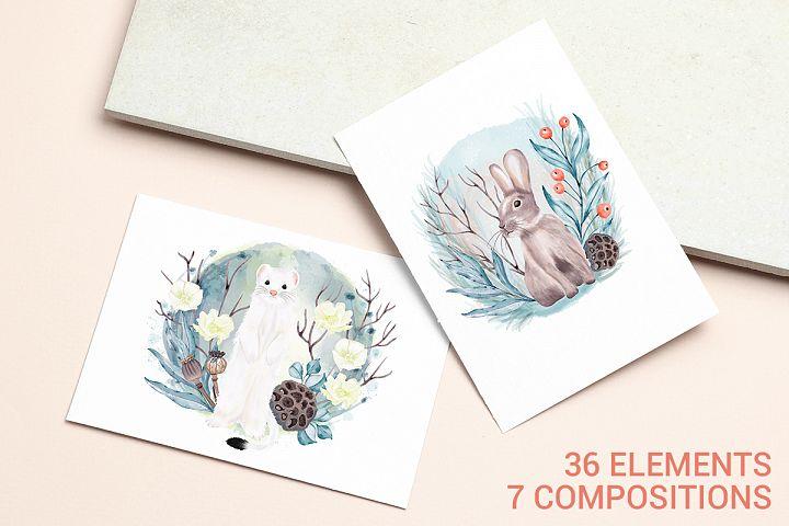Winter forest, wild animals and birds. Decoration set