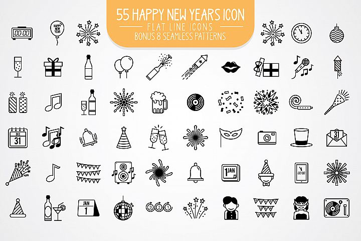 55 Happy New Year Flat line Icons