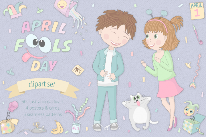April Fools Day Illustration Set