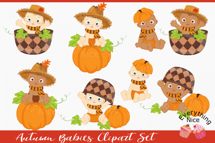 Autumn Babies Clipart Set