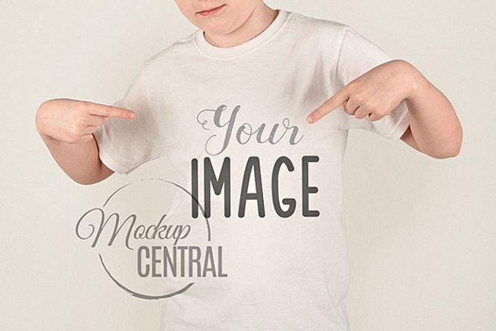Boy Model Wearing T-Shirt Mockup, Child Tshirt Mock Up JPG