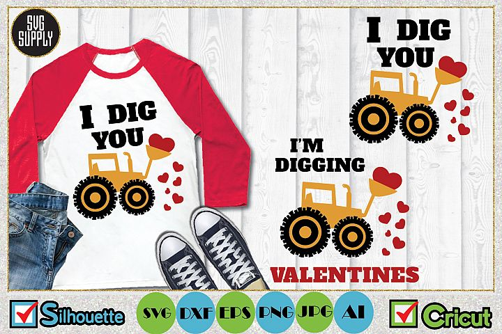 Valentines Day Tractor Truck SVG Cut File