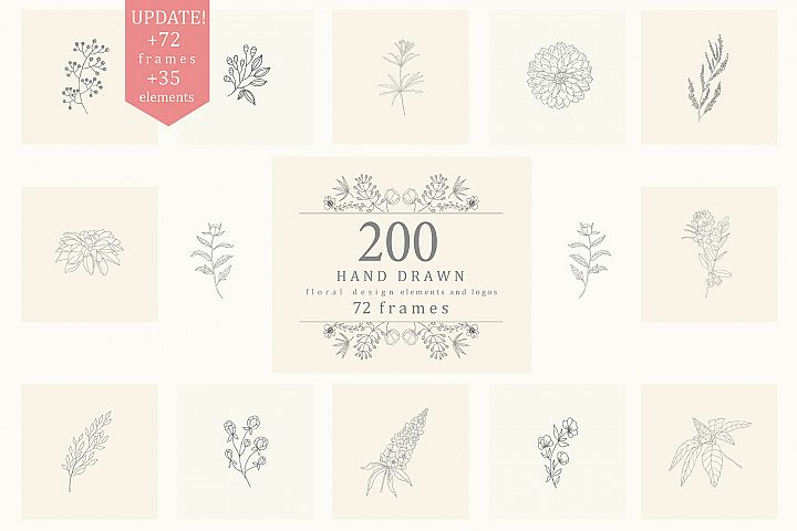 200 Hand Drawn Floral Elements, Frames.
