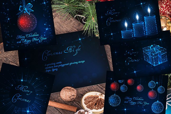 Magical Christmas Night greeting cards