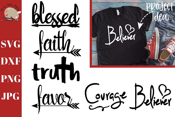 Faith Word Bundle svg dxf png, christian words decal svg