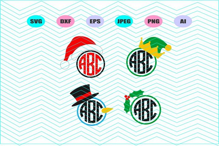 Christmas monogram frame Svg Vector File Cricut Decal Vinyl