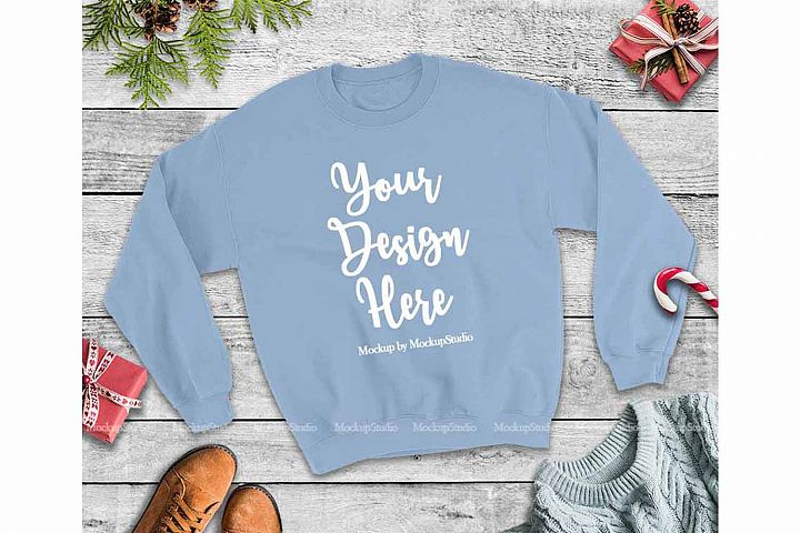 Christmas Winter Party Light Blue Unisex Sweatshirt Mock Up