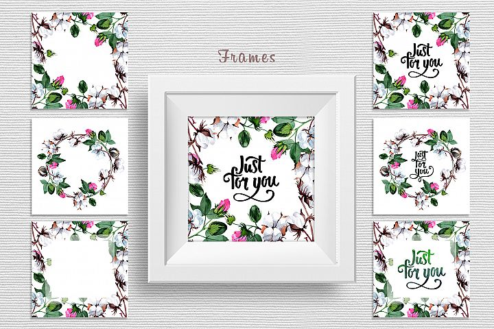 Cool cotton PNG watercolor set example 2
