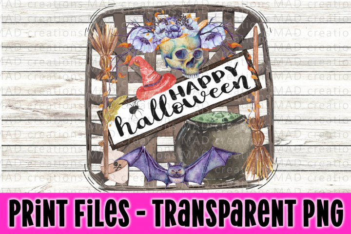 Rustic Tobacco Basket - Happy Halloween - Print File
