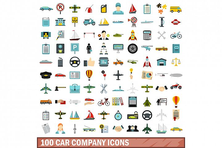 100 car company icons set, flat style