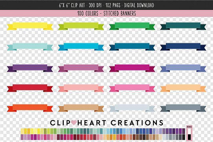 Stitched Banner Clip Art - 100 Clip Art Graphics