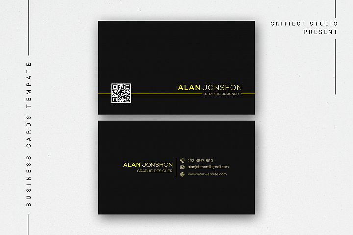 Simple Black Business Cards