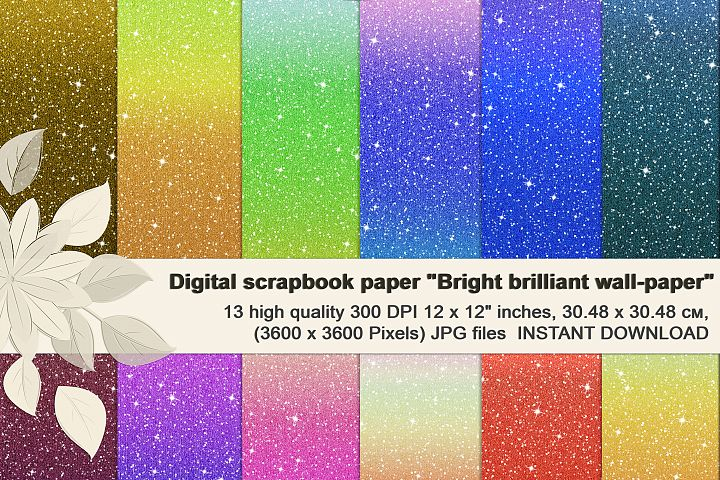 Multi-colored Brilliant Glitter Ombre, Scrapbook Paper.