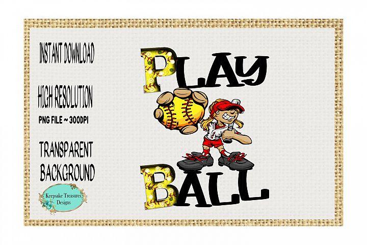 Play Ball, Softball Cartoon Character