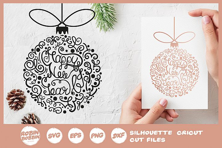 Happy New Year SVG - Hand Drawn Christmas Tree Toy SVG