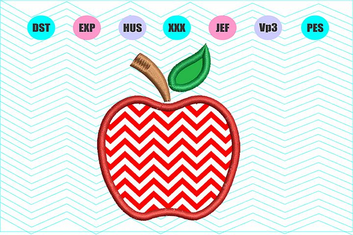 Apple Applique Machine Embroidery Design INSTANT DOWNLOAD