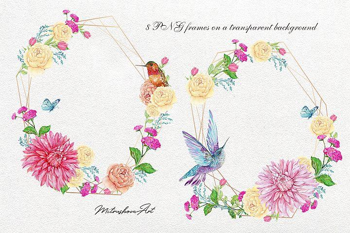 Flowers frames watercolor, 8 PNG frames